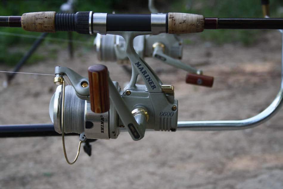 Close up of metal fishing reel