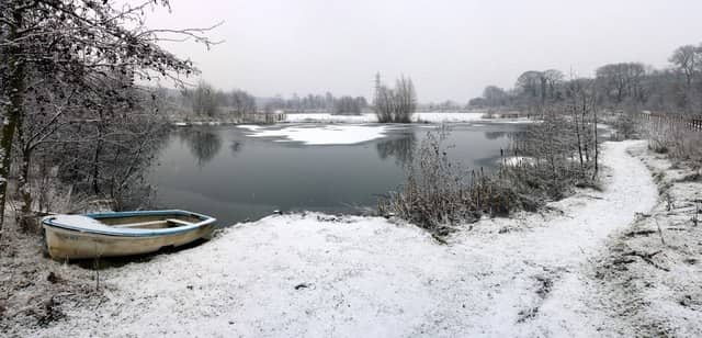 lake covered in snow
